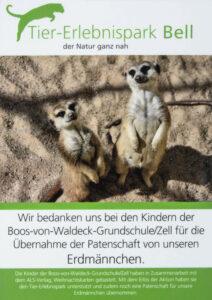 Tierpark Bell Patenschaftstafel der Grundschule und des ALS Verlages